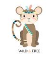 cartoon monkey tribal vector image vector image