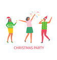 christmas party people celebrating winter holiday vector image vector image