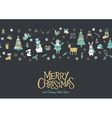christmas pattern banner grey vector image vector image