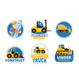construct machines logo heavy machinery vehicles vector image vector image