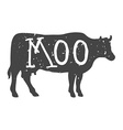 Cow Silhouette with Moo Text vector image