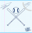 crossed baseball bats and ball line sketch icon vector image