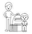 cute little student boy with teacher and schoolbag vector image