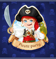 cute pirate boy with green parrot banner vector image vector image
