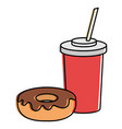 delicious sweet donut with beverage vector image