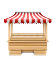 empty market stall with striped awning vector image vector image