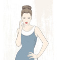 fashion woman in blue dress vector image vector image