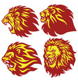 fire lion head esport logo set premium vector image