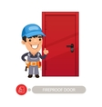 Fireproof Door and Worker vector image vector image