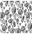 fun and cute sketch tulip seamless pattern vector image vector image