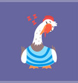 funny seagull sitting and sleeping cute comic vector image vector image
