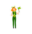 girl with red hair wearing green irish costume vector image vector image