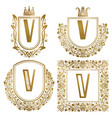 golden vintage monograms set heraldic logos v vector image vector image