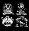 halloween vintage design set vector image