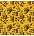 Honey seamless pattern with hand drawn sketch vector image vector image