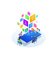 isometric digital marketing strategy concept vector image vector image