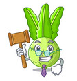 judge fresh cabbage kohlrabi on the mascot vector image vector image