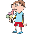 kid with ice cream cartoon vector image