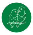 lovebird parrots icon in thin line style vector image vector image