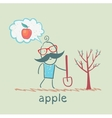 man plants a tree and thinks about the apple vector image vector image