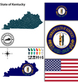 map kentucky with seal vector image vector image