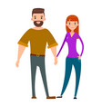 married couple bearded men and pretty woman lovers vector image