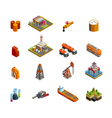 Oil Industry Isometric Icons Set vector image vector image