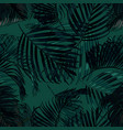 palm leaves silhouette on the green background vector image