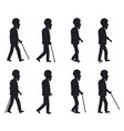 person with cane thin stick with curved handle set vector image vector image
