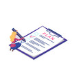 plan document checklist woman writing planning vector image
