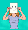 pop art woman with smiley emoticon on paper sheet vector image vector image