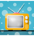 Retro Orange Television TV on Abstract Blue Backgr vector image vector image