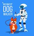 robot dogwalker petsitter walking a dog vector image