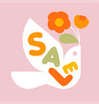 sale banner with letters and bird with flowers vector image vector image