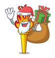 santa with gift torch mascot cartoon style vector image vector image