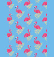 seamless flamingo background pattern vector image vector image