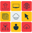 set of 9 web icons includes human website vector image vector image