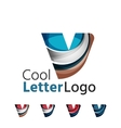 Set of abstract V letter company logos Business vector image