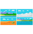 set of natural landscapes in flat vector image