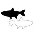 silver carp silhouette vector image