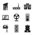 smart house icons set simple style vector image