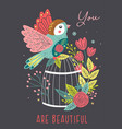 spring floral card with bird on cage vector image