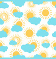 sun and clouds seamless pattern vector image
