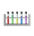 test glass tubes in rack equipment for biology vector image vector image