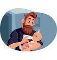 tired father night feeding bawith bottle vector image vector image