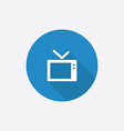 tv Flat Blue Simple Icon with long shadow vector image vector image