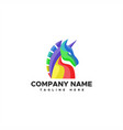 unicorn logo colorful vector image