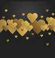 valentines day background with golden hearts vector image