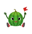 Watermelon Character Sitting Emoji Sticker With vector image vector image
