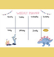 weekly planner cute page for notes vector image vector image